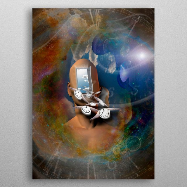 Allegory. Man's head with open door to another world. Winged clocks represent flow of time metal poster