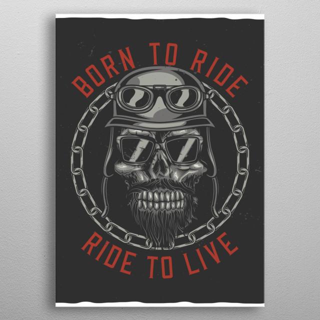 Biker Skull metal poster