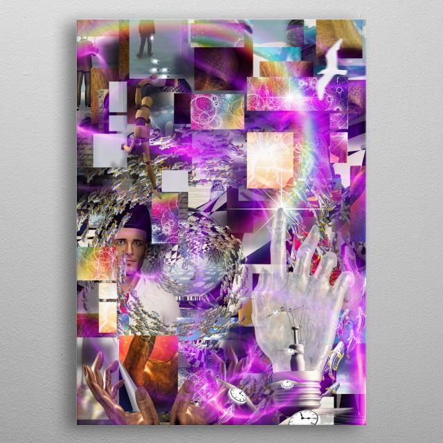 Complex Surreal Art. Vortex of Life metal poster