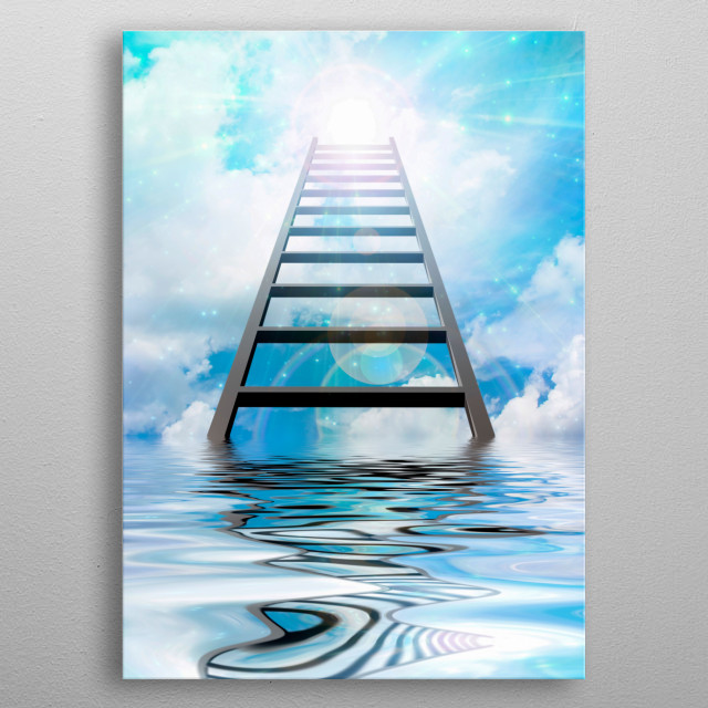 Ladder to the sky. Bright light in the clouds metal poster