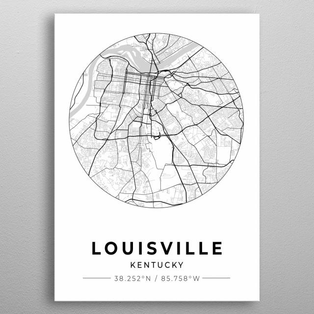 Louisville, Kentucky City Map metal poster