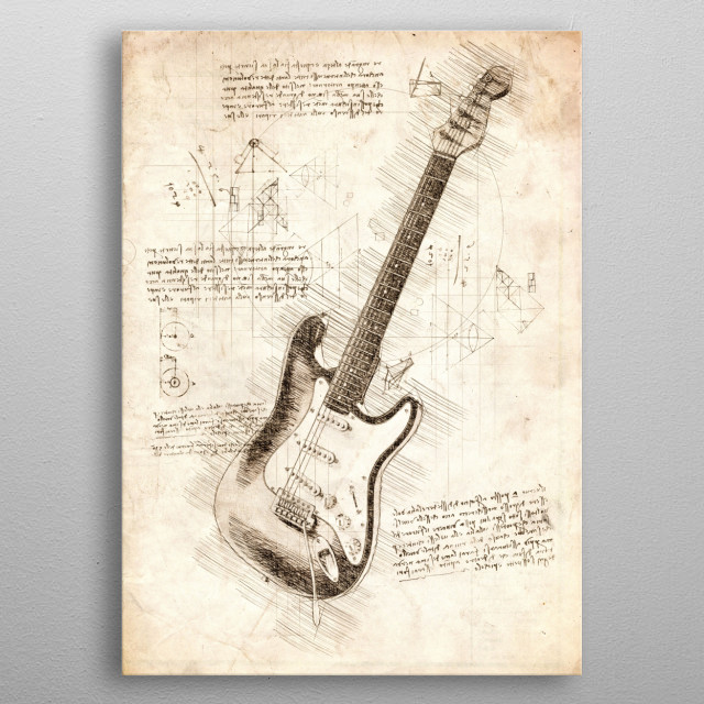 Sketch of an Electric Guitar metal poster