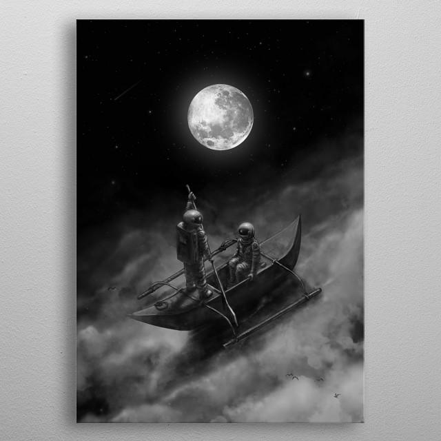 Lovers in space. metal poster