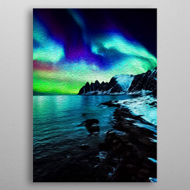 Aurora, also known as Northern Lights, is one of the most magical phenomena on the planet. metal poster