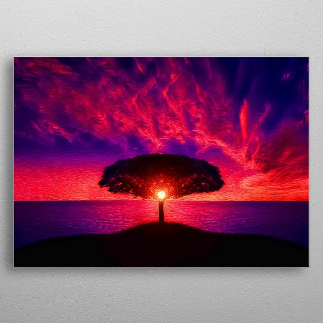Hills, trees, ocean, sky and sunset... What's more beautiful than that? metal poster