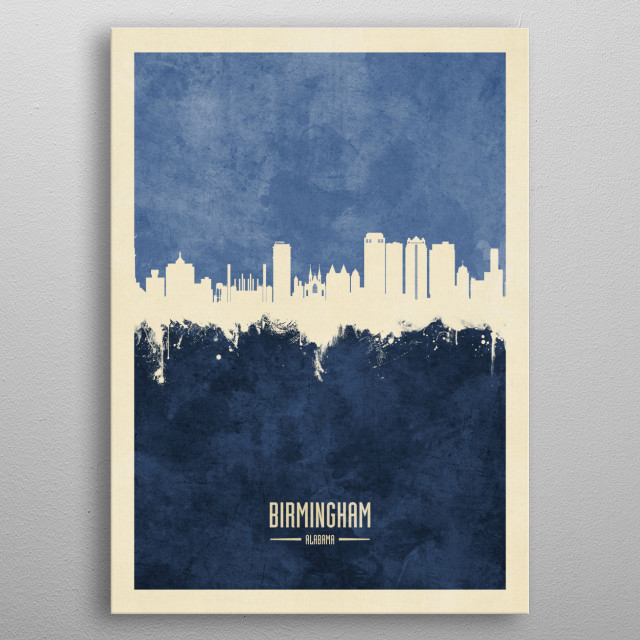 Watercolor art print of the skyline of Birmingham, Alabama metal poster