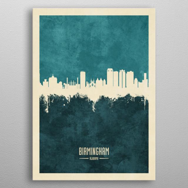 Watercolor art print of the skyline of Birmingham, Alabama metal poster