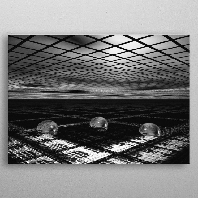 Three Orbs join together to create a quorum and discuss important matters of the universe. Black and white illustration by Bob Orsillo. metal poster