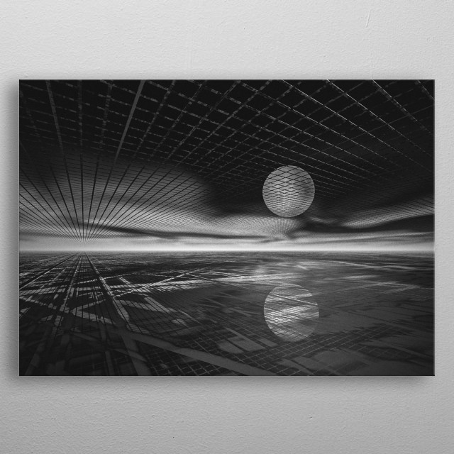 Single Orb watching the horizon it's reflection in the semi transparent world below. Black and white surreal illustration by Bob Orsillo metal poster