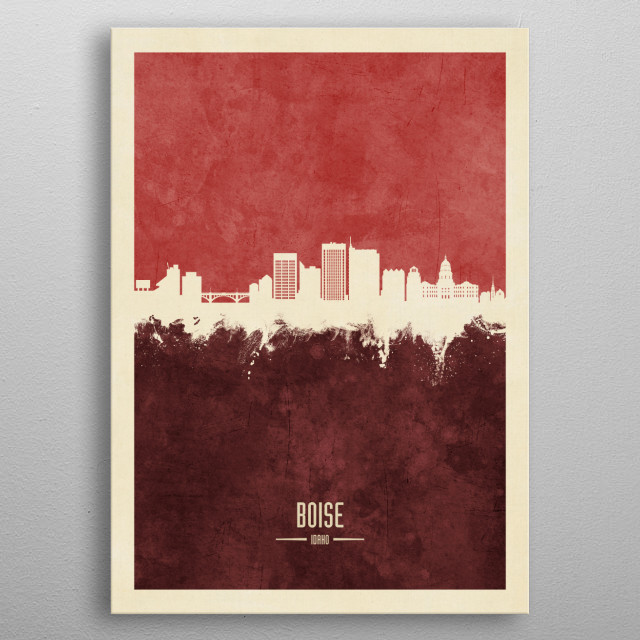 Watercolor art print of the skyline of Boise, Idaho metal poster