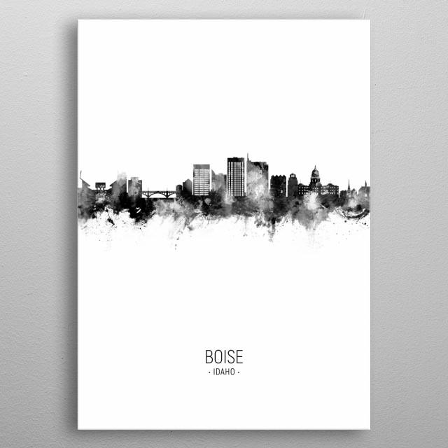 Watercolor art print of the skyline of Boise, Idaho metal poster