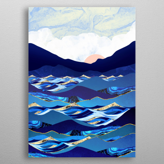 Abstract depiction of an ocean scene with blue, gold, mountains and waves metal poster