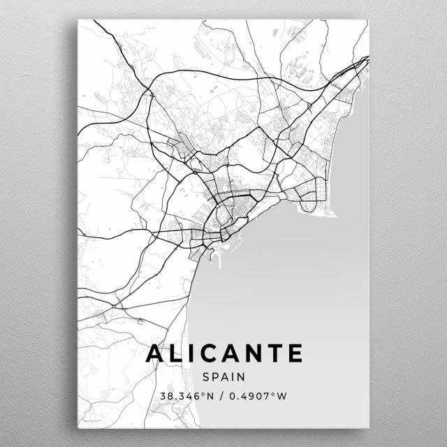 Alicante, Spain City Map metal poster