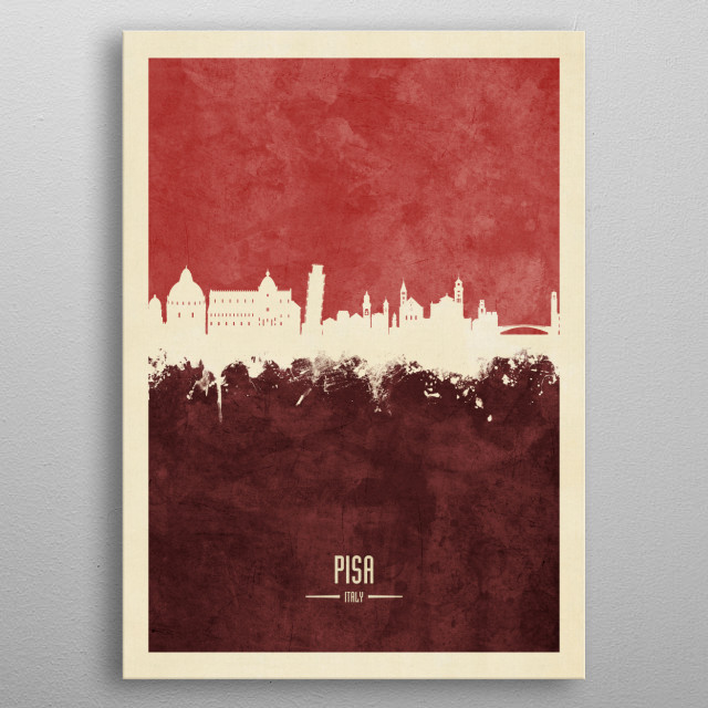Watercolor art print of the skyline of Pisa, Italy metal poster