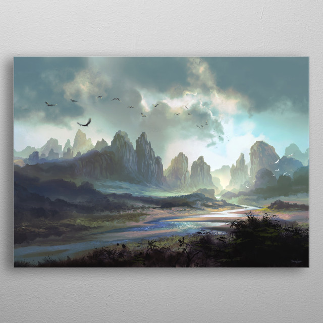 Beautiful and peaceful, this is a vast land of proud tall mountains and a handful river that flows so elegantly.  metal poster