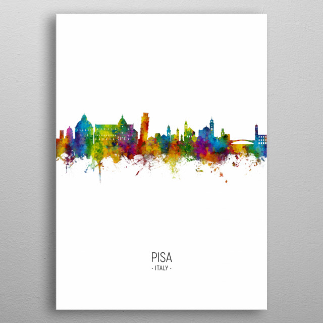 Watercolor art print of the skyline of Pisa, Italy metal poster