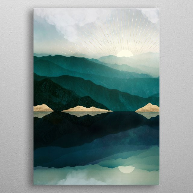 Abstract landscape of waters edge reflection with mountains, gold, teal and blue metal poster