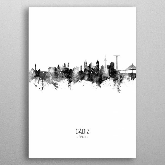 Watercolor art print of the skyline of Cádiz, Spain metal poster