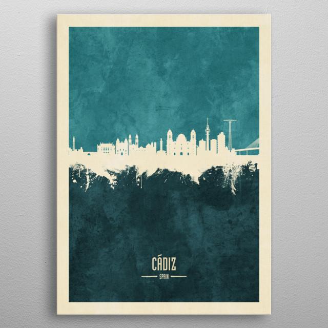 Watercolor art print of the skyline of Cádiz, Spain metal poster