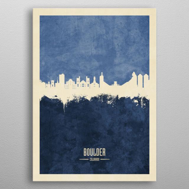 Watercolor art print of the skyline of Winston-Salem, Colorado metal poster