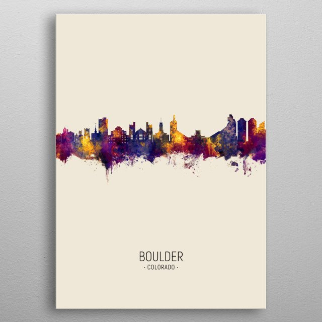 Watercolor art print of the skyline of Winston-Salem, Colorado metal poster