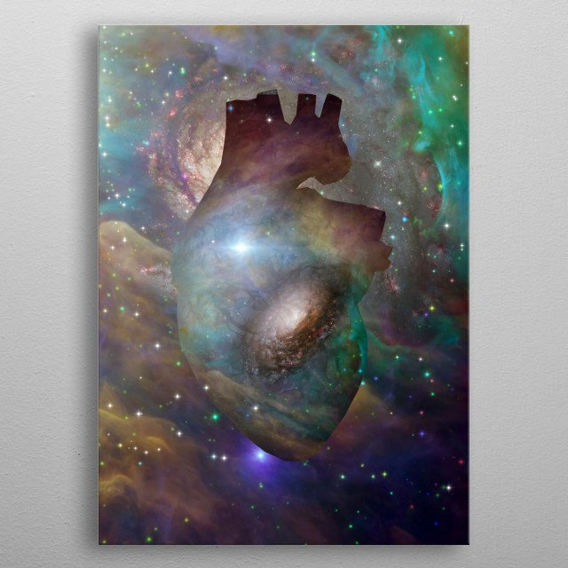 Interstellar Heart. Vivid galaxy in Universe metal poster
