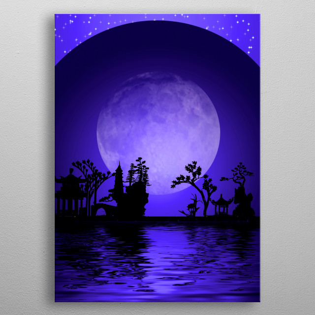 Asia Landscape. Night Silhouettes metal poster