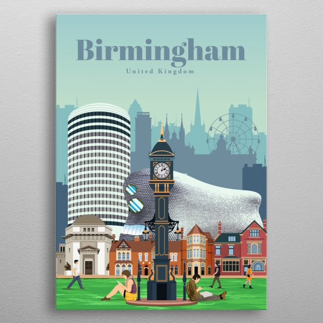 Digital illustration of Birmingham's skyline and landmark architecture. Check out an illustration of the city's buildings like Selfridges. metal poster