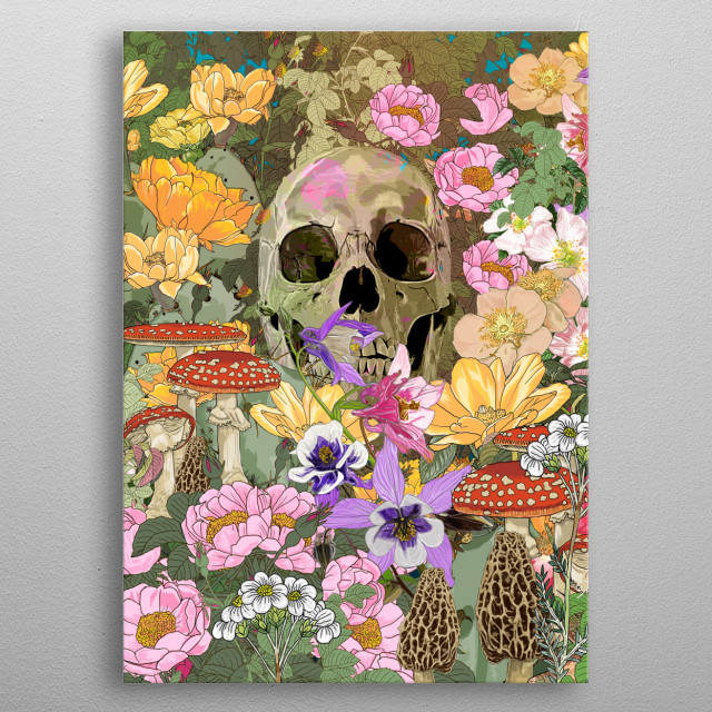 Skull and flowers metal poster