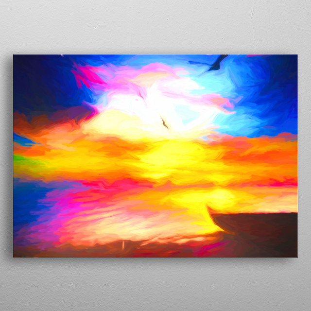 Golden Sky - colorful and amazing peaceful sunset on the beach metal poster