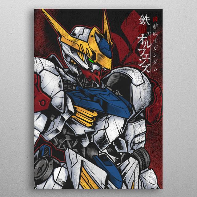 Gundam Barbatos Lupus From Iron Blooded Orphans anime series. metal poster