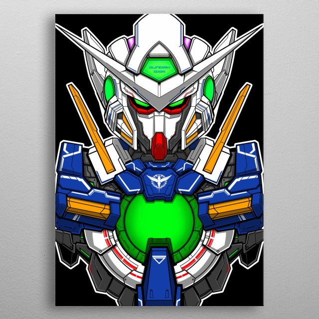 Exia Gundam From gundam 00 Series First Season main mobile suit piloted by Setsuna f Seiei metal poster
