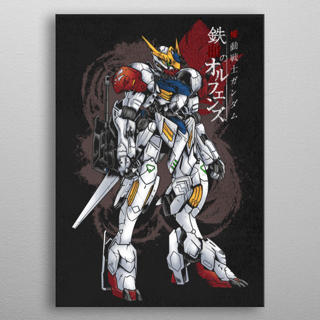 barbatos lupus From Mobile Suit Gundam Tekketsu no Orphans.  metal poster