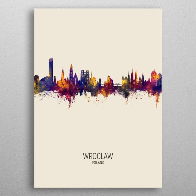 Watercolor art print of the skyline of Wroclaw, Poland metal poster