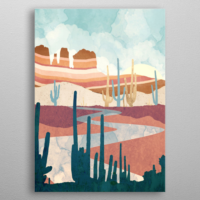 Abstract landscape of a desert vista with mountains, cactus and water metal poster