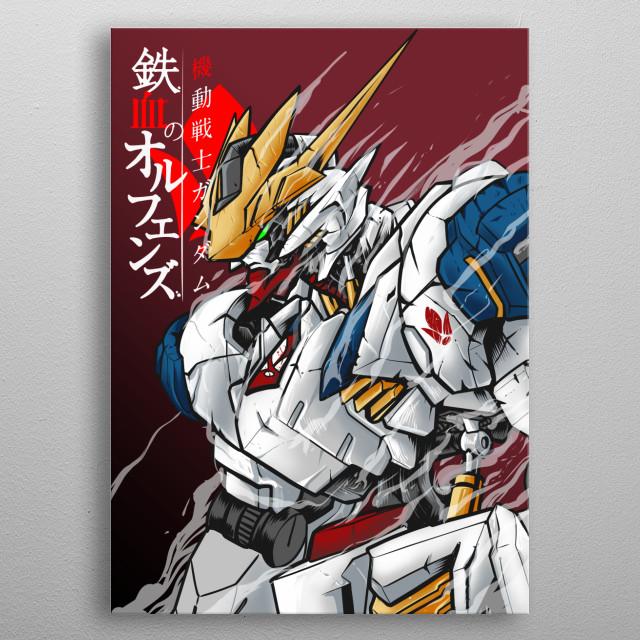 Barbatos Lupus Rex Gundam from Iron Blooded orphans anime series 2016.  metal poster