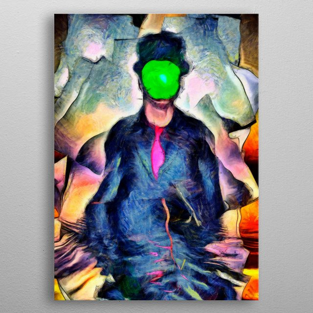 Surreal painting. Man in suit with green apple instead of face metal poster