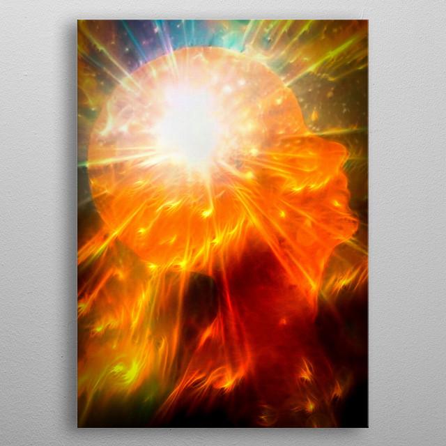 Vivid imagination. Bright light inside human head metal poster