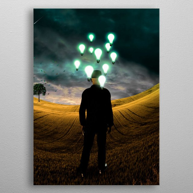 Surreal landscape with man and idea bulbs metal poster