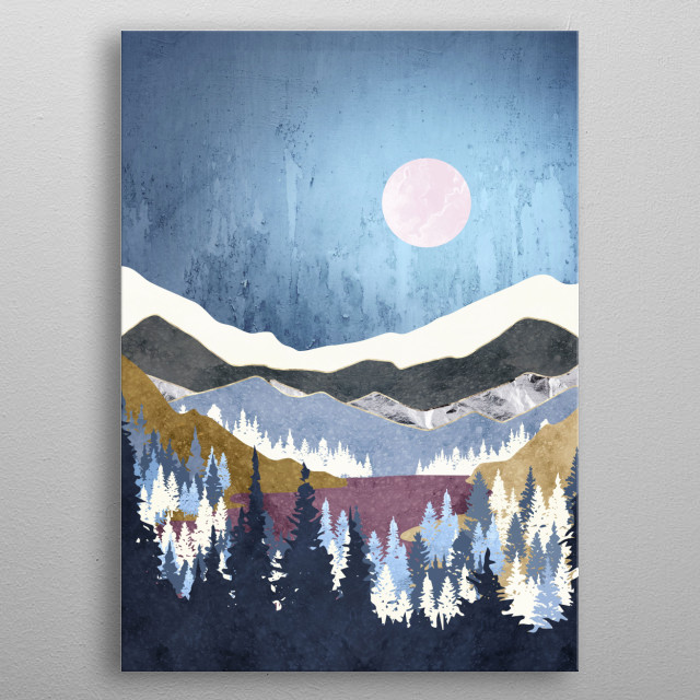 Abstract landscape of a blueberry sky with trees, mountains and mauve metal poster