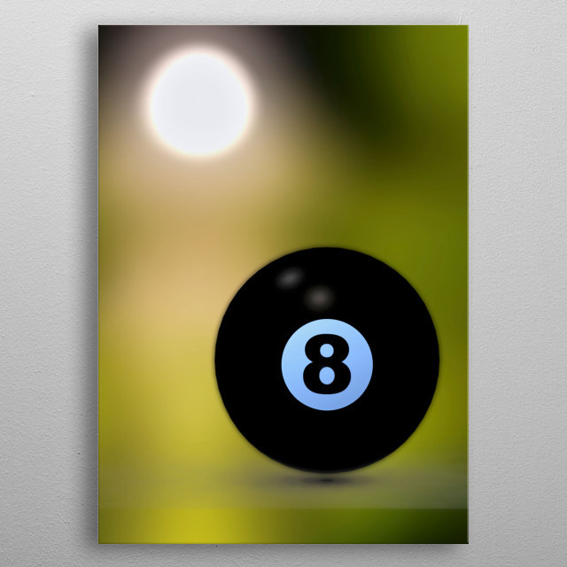 Player and cue lining the up the next shot behind the eight ball. Illustration by Bob Orsillo metal poster