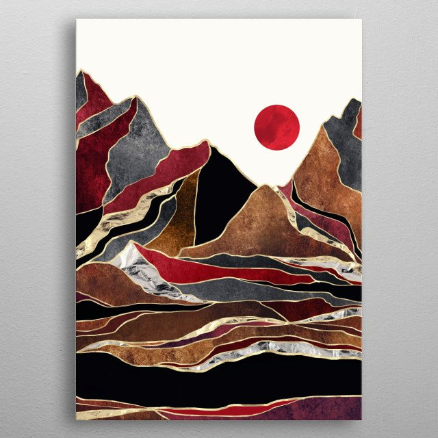 Abstract landscape of an Amber Copper Vista with mountains, gold and silver metal poster