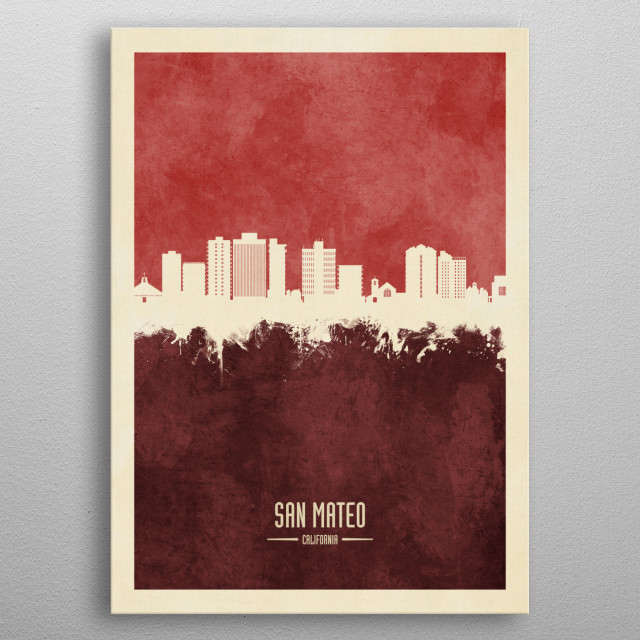 Watercolor art print of the skyline of San Mateo, California, United States metal poster