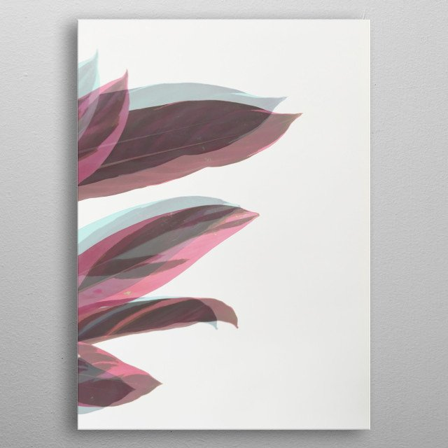 A still life photograph of a house plant. metal poster
