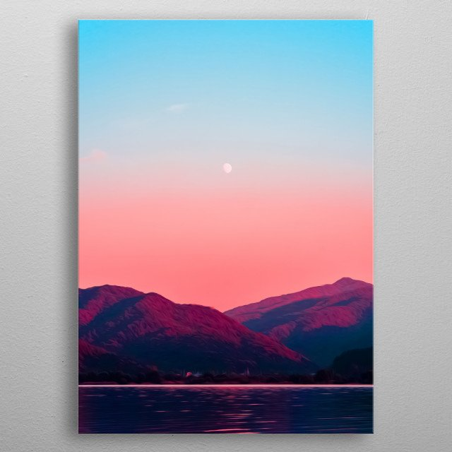 There's nothing like a beautiful romantic landscape of an ocean, mountains and sky. metal poster