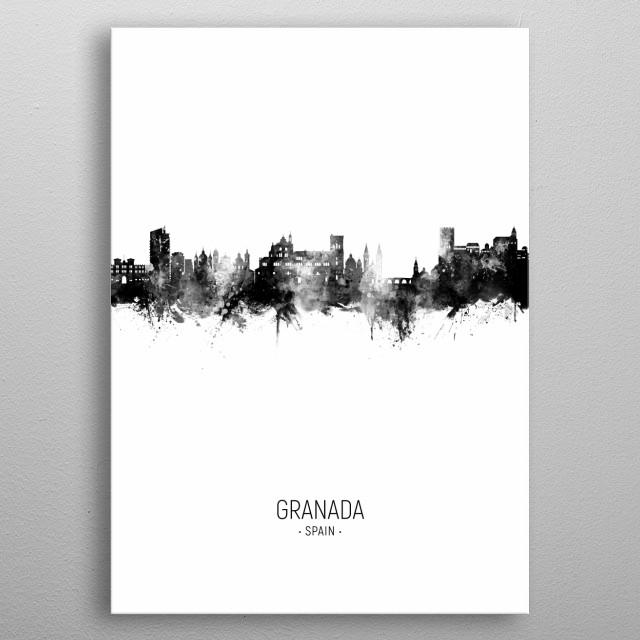 Watercolor art print of the skyline of Granada, Spain metal poster