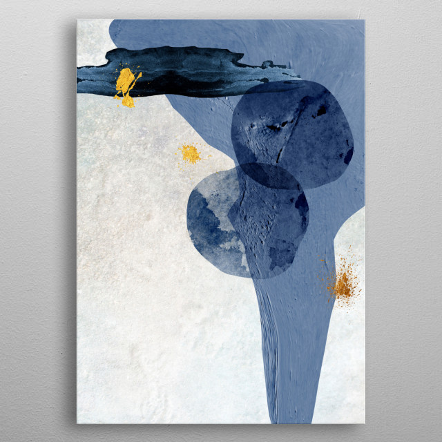Abstract Minimalist art in dark blue and gold metal poster