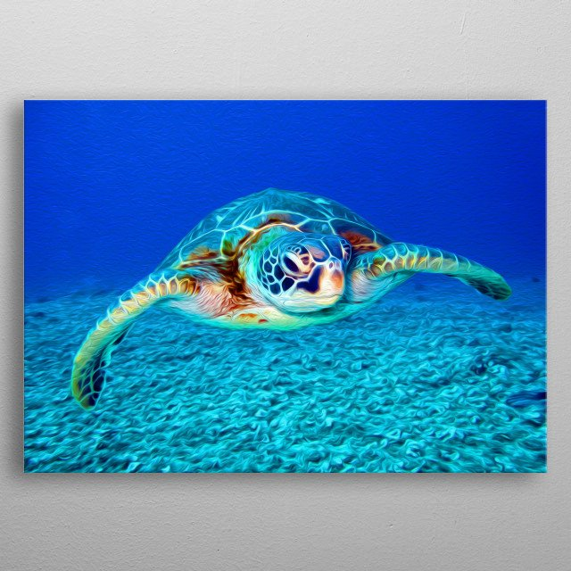 Turtles are some of the most beautiful and gentle creatures on Earth. metal poster