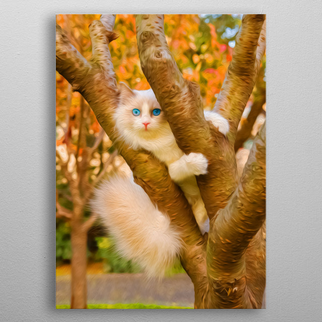 Cats are notorious for climbing trees and then having trouble getting off them. metal poster