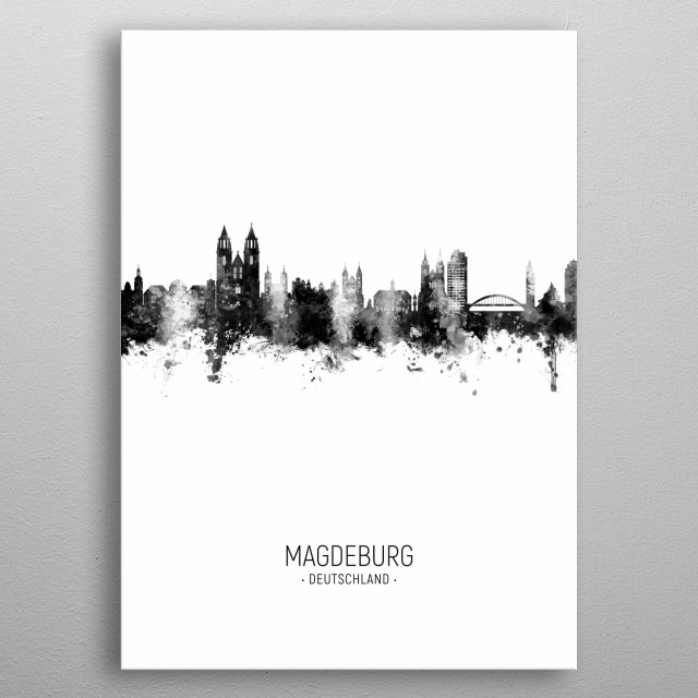 Watercolor art print of the skyline of Magdeburg, Germany metal poster